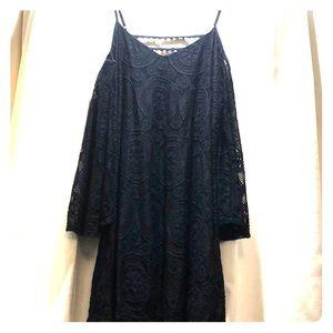 Lace navy blue open shoulder long sleeve dress